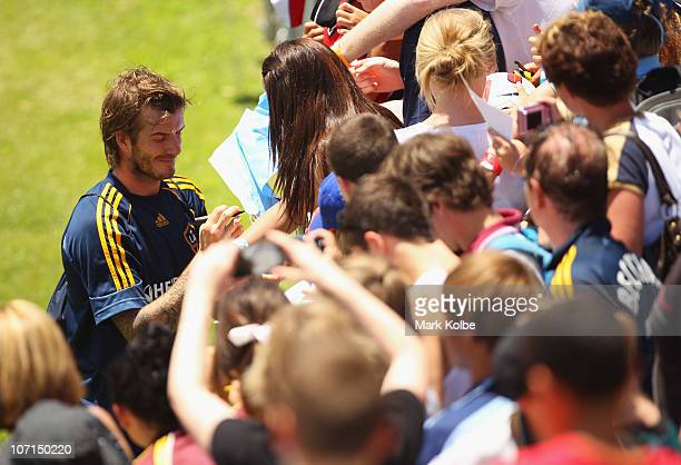 David Beckham signs autographes after an LA Galaxy training session at EnergyAustralia Stadium on November 26 2010 in Newcastle Australia