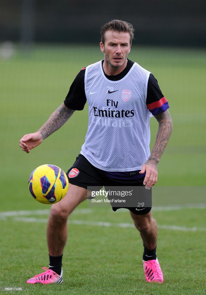 <a gi-track='captionPersonalityLinkClicked' href=/galleries/search?phrase=David+Beckham&family=editorial&specificpeople=158480 ng-click='$event.stopPropagation()'>David Beckham</a> trains with Arsenal at London Colney on January 29, 2013 in St Albans, England.