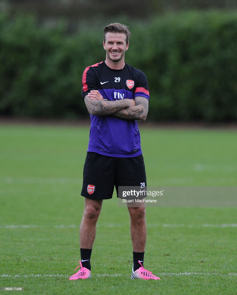 <a gi-track='captionPersonalityLinkClicked' href=/galleries/search?phrase=David+Beckham&family=editorial&specificpeople=158480 ng-click='$event.stopPropagation()'>David Beckham</a> trains with the Arsenal squad at London Colney on January 29, 2013 in St Albans, England.