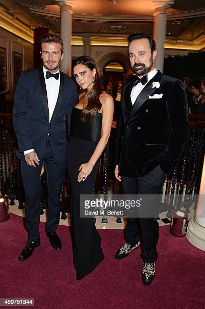 David Beckham Victoria Beckham and Evgeny Lebedev attend a champagne reception at the 60th London Evening Standard Theatre Awards at the London...