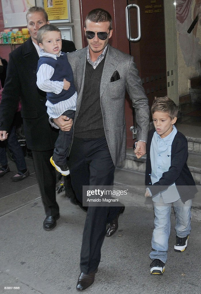 <a gi-track='captionPersonalityLinkClicked' href=/galleries/search?phrase=David+Beckham&family=editorial&specificpeople=158480 ng-click='$event.stopPropagation()'>David Beckham</a> (2nd R) walks with his son s Cruz (2nd L) and Romeo November 28, 2008 in New York City.