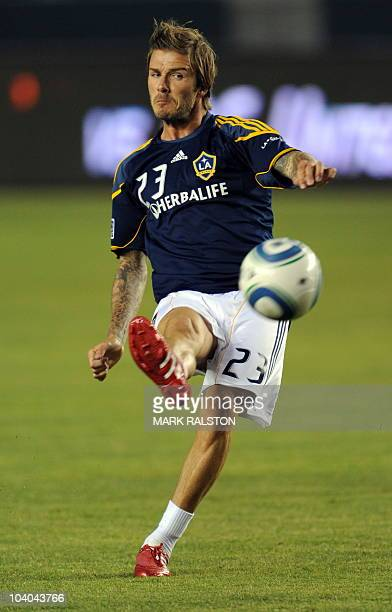 David Beckham warms up on his return to his team the LA Galaxy before the game against the Columbus Crew at the Home depot Stadium in Carson Los...