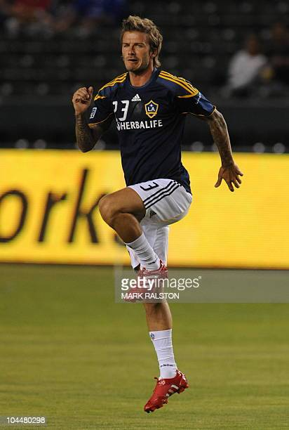 David Beckham warmsup with his team the LA Galaxy before the game against the New York Red Bulls at the Home Depot Stadium in Carson Los Angeles on...
