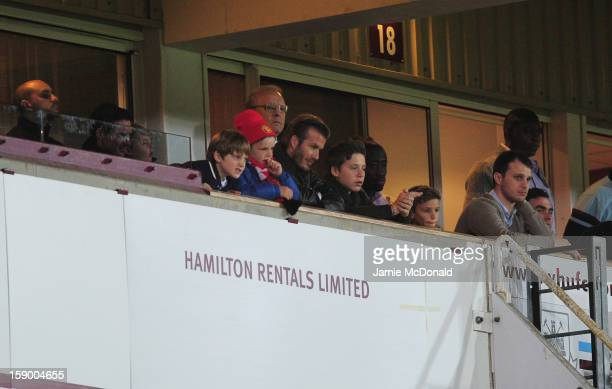 David Beckham watches the FA Cup with Budweiser Third Round match between West Ham United and Manchester United at the Boleyn Ground on January 5...