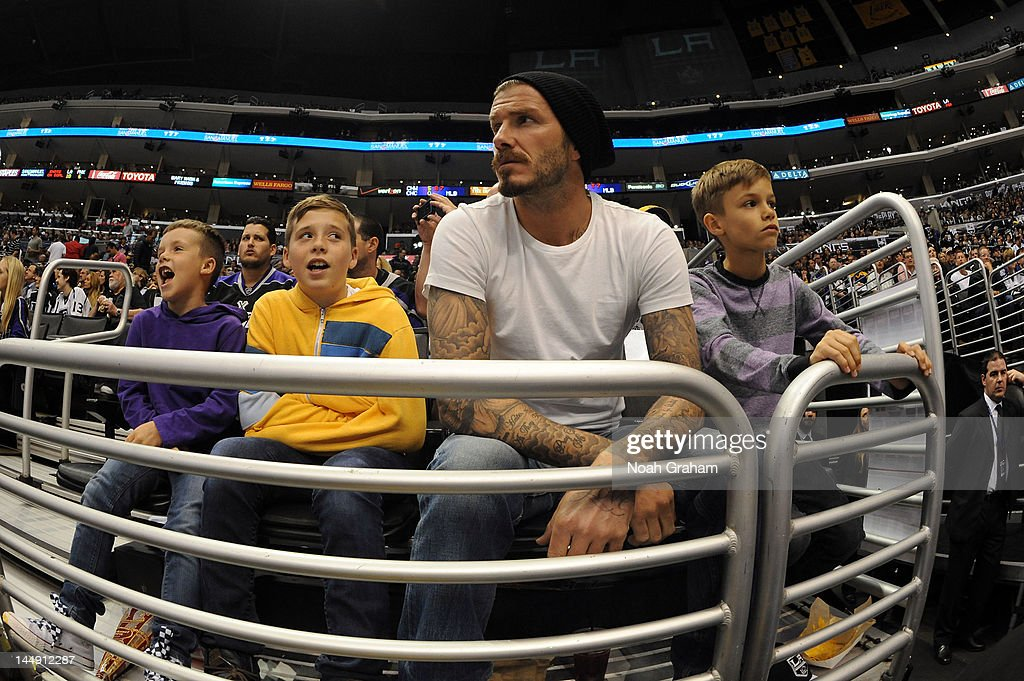 <a gi-track='captionPersonalityLinkClicked' href=/galleries/search?phrase=David+Beckham&family=editorial&specificpeople=158480 ng-click='$event.stopPropagation()'>David Beckham</a> watches the game between the Phoenix Coyotes and the Los Angeles Kings in Game Four of the Western Conference Finals during the 2012 NHL Stanley Cup Playoffs at Staples Center on May 20, 2012 in Los Angeles, California.