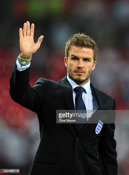 David Beckham waves to the fans after the International Friendly match between England and Mexico at Wembley Stadium on May 24 2010 in London England