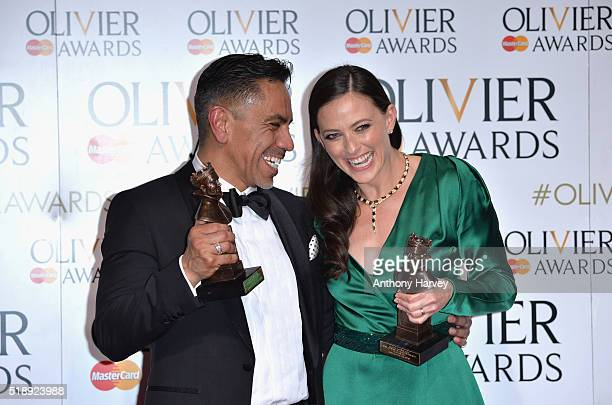 David Bedella winner of the award for Best Actor in a Supporting Role in a Musical for 'In The Heights' and Lara Pulver winner of the Best Actress in...