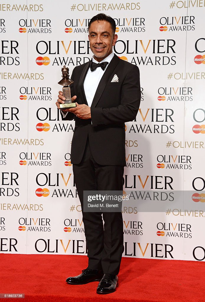 David Bedella winner of the Best Actor in a Supporting Role in a Musical award for 'In The Heights' poses in the Winners Room at The Olivier Awards...