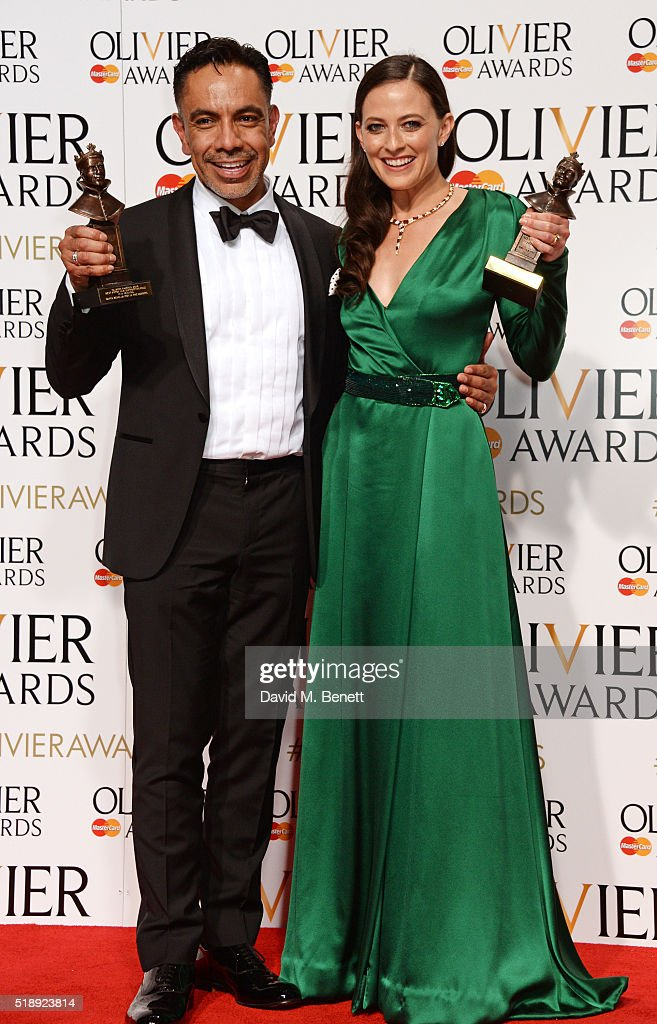 David Bedella winner of the Best Actor in a Supporting Role in a Musical award for 'In The Heights' and Lara Pulver winner of the Best Actress in a...