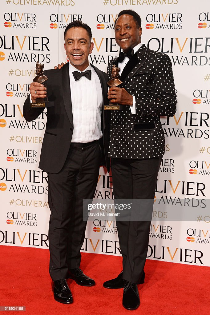 David Bedella winner of the Best Actor in a Supporting Role in a Musical award for 'In The Heights' and Matt Henry winner of the Best Actor in a...