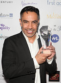 David Bedella with his Best Supporting Actor in a Musical award for In The Heights during the 16th Annual WhatsOnStage Awards at The Prince of Wales...