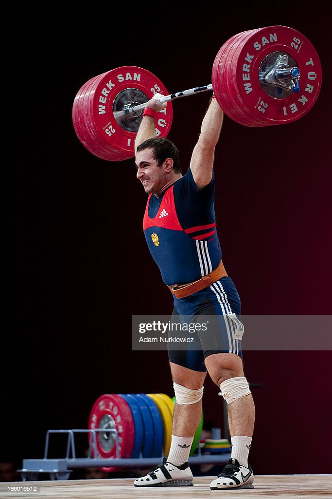 David Bedzhanyan of Russia lifts in the Clean Jerk competition men's 105 kg Group A during the IWF World Weightlifting Championships Wroclaw 2013 at...