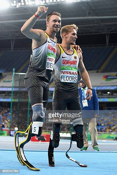 David Behre of Germany celebrates winning the Bronze medal with his team mate Johannes Floors in the Men's 200m T44 on day 5 of the Rio 2016...