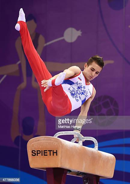 David Belyavskiy of Russia competes in the Men's Pommel Horse final on day eight of the Baku 2015 European Games at the National Gymnastics Arena on...