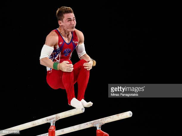 David Belyavskiy of Russia competes on the parallel bars during the individual apparatus finals of the Artistic Gymnastics World Championships on...
