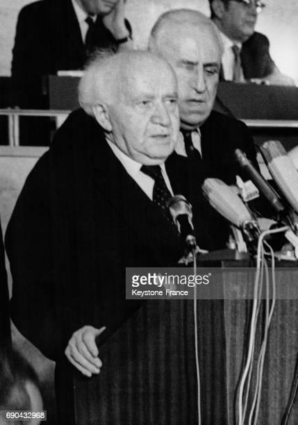 David Ben Gourion ancien premier ministre membre de la délégation israélienne lors du congrès mondial juif consacré à l'étude de la situation de...