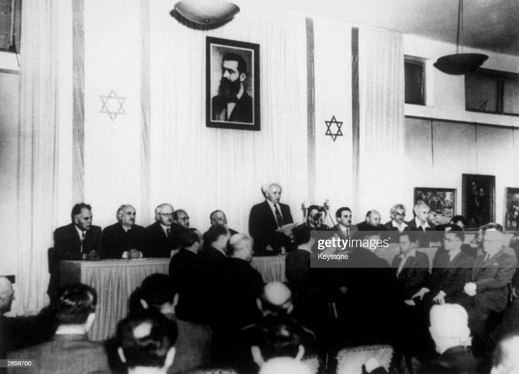 David Ben Gurion reads out the declaration of the founding of the State of Israel in Tel Aviv