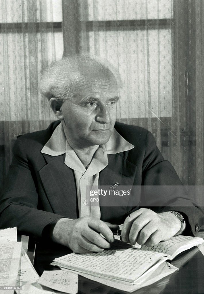 David Ben Gurion the first Prime Minister of the Jewish State in his office May 20 1949 in Tel Aviv Israel