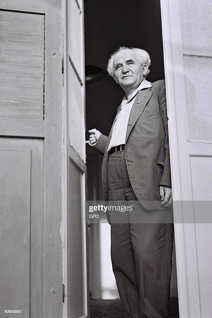 David Ben Gurion, the first Prime Minister of the Jewish State, on his office balcony May 20, 1949 in Tel Aviv, Israel.