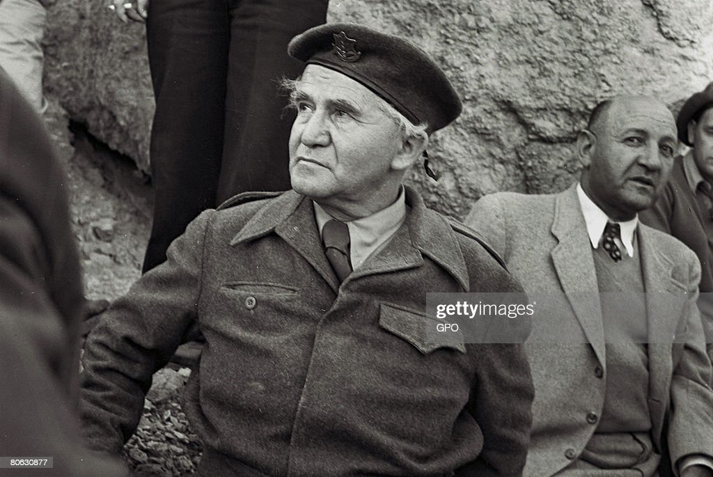 David Ben Gurion, the first Prime Minister of the Jewish State, wears military uniform during a visit on December 2, 1949 to the negev desert in southern Israel.