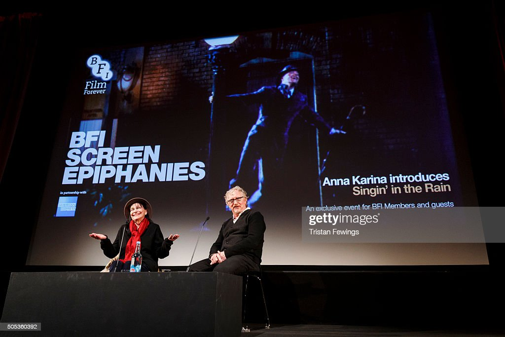 David Benedict and <a gi-track='captionPersonalityLinkClicked' href=/galleries/search?phrase=Anna+Karina&family=editorial&specificpeople=746277 ng-click='$event.stopPropagation()'>Anna Karina</a> introduce Singin' in the Rain at BFI Southbank on January 17, 2016 in London, England.