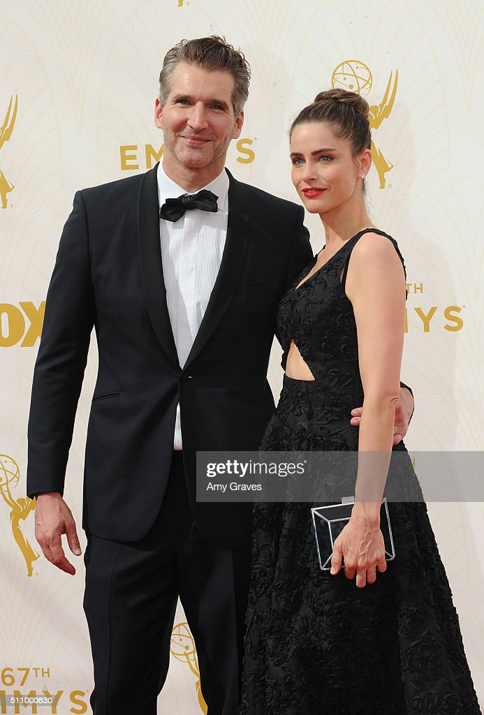 David Benioff and Amanda Peet attend the 67th Annual Primetime Emmy Awards on September 20, 2015 in Los Angeles, California.