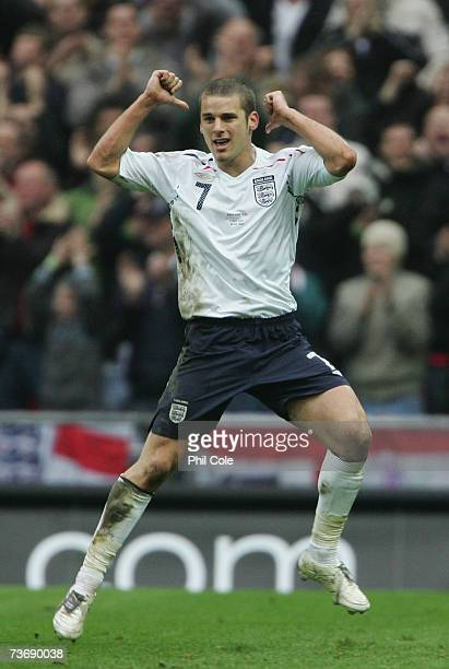 David Bentley of England celebrates as he scores their first goal during the U21 International Friendly match between England and Italy at Wembley...