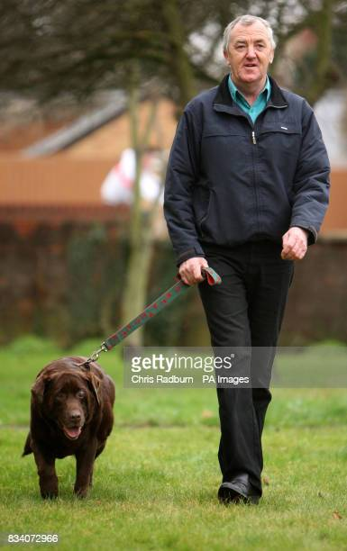 David Benton from Fordham Cambridgeshire with his Chocolate Labrador Rusty who has lost five stone in less than two years