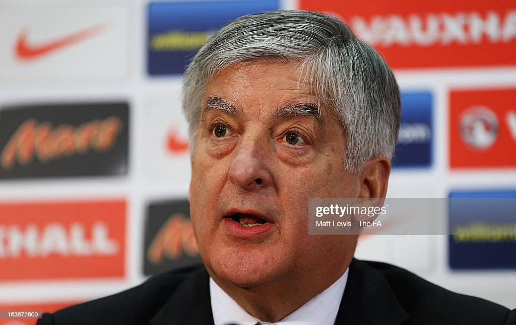 <a gi-track='captionPersonalityLinkClicked' href=/galleries/search?phrase=David+Bernstein&family=editorial&specificpeople=6425521 ng-click='$event.stopPropagation()'>David Bernstein</a>, FA Chairman pictured at Wembley Stadium on March 14, 2013 in London, England.