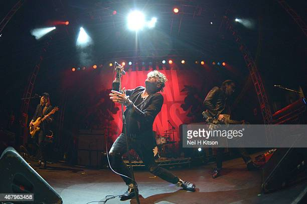 David Beste Jay Buchanan Michael Miley and Scott Holliday of Rival Sons performs at O2 Academy Leeds on March 28 2015 in Leeds England
