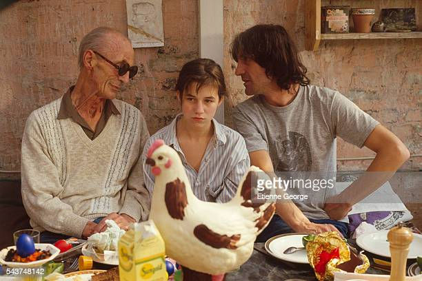 David Birkin father of scriptwriter and actor Andrew Birkin and grandfather of actress Charlotte Gainsbourg on the set of 'Jane B par Agnès V'...