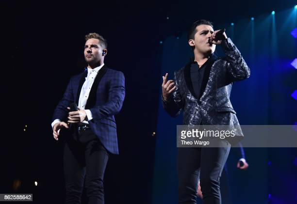David Bisbal and Christian Nodal perform onstage during TIDAL X Brooklyn at Barclays Center of Brooklyn on October 17 2017 in New York City