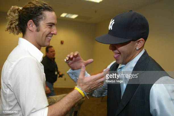David Bisbal and Daddy Yankee during Encuentro De Los Grandes Estereotempo Show and Backstage June 4 2005 at Jose M Agrelot Coliseum in San Juan...