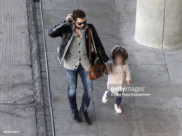 David Bisbal and his daughter are seen on December 23 2014 in Madrid Spain