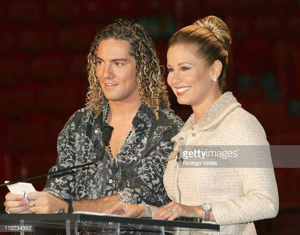 David Bisbal and Myrka Dellanos during Univision Press Conference Announcing Premio Lo Nuestro 2005 at American Airlines Arena in Miami Florida...