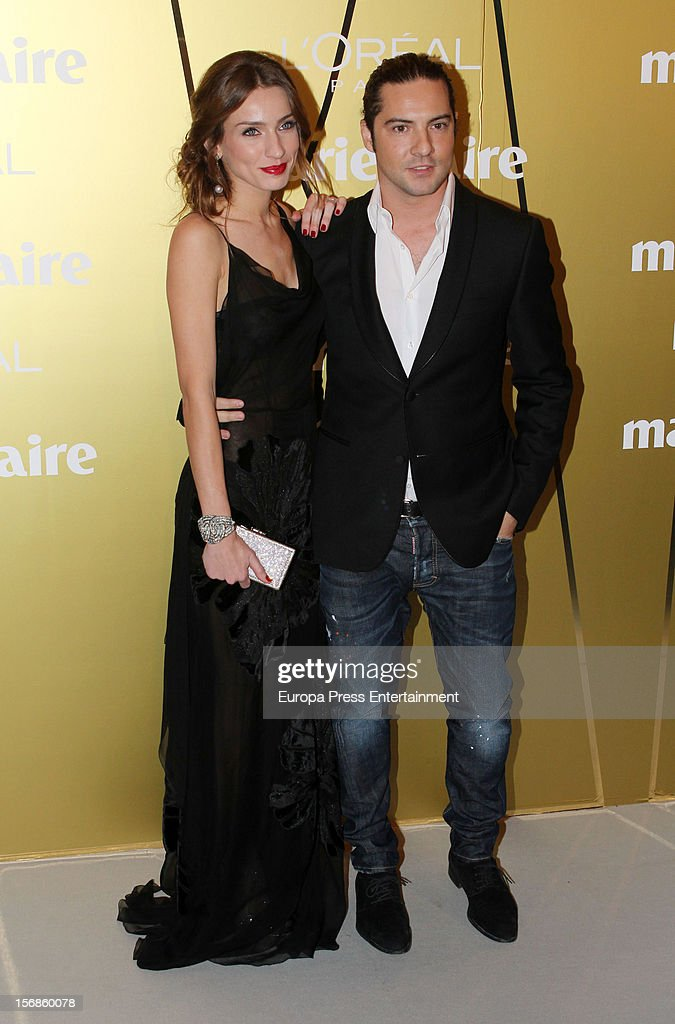 <a gi-track='captionPersonalityLinkClicked' href=/galleries/search?phrase=David+Bisbal&family=editorial&specificpeople=206469 ng-click='$event.stopPropagation()'>David Bisbal</a> and Raquel Jimenez attend Marie Claire Prix de la Moda Awards 2012 on November 22, 2012 in Madrid, Spain.
