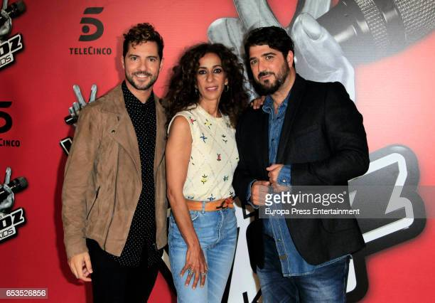 David Bisbal Rosario Flores and Antonio Orozco attend 'La Voz Kids 3' presentation on March 15 2017 in Madrid Spain