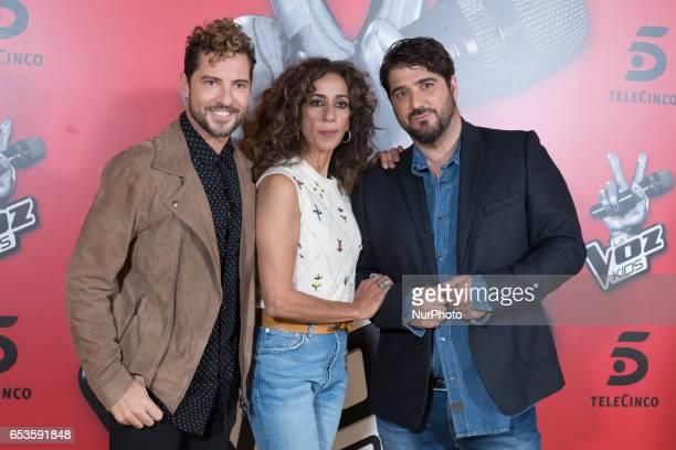 David Bisbal Rosario Flores and Antonio Orozco attend 'La Voz Kids 3' presentation at TeleCinco studios on March 15 2017 in Madrid Spain