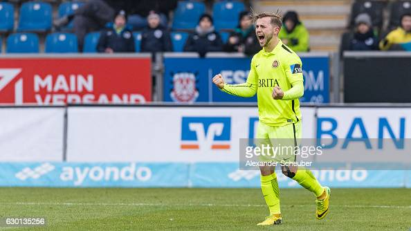David Blacha of Wiesbaden celebrates the first goal for his team during the Third League match between FSV Frankfurt and Wehen Wiesbaden at Volksbank...