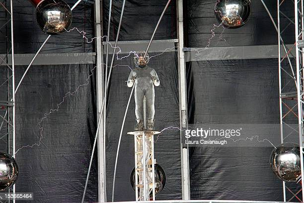 David Blaine attends the 'Electrified 1 Million Volts Always On' stunt medical briefing at Pier 54 on October 8 2012 in New York City