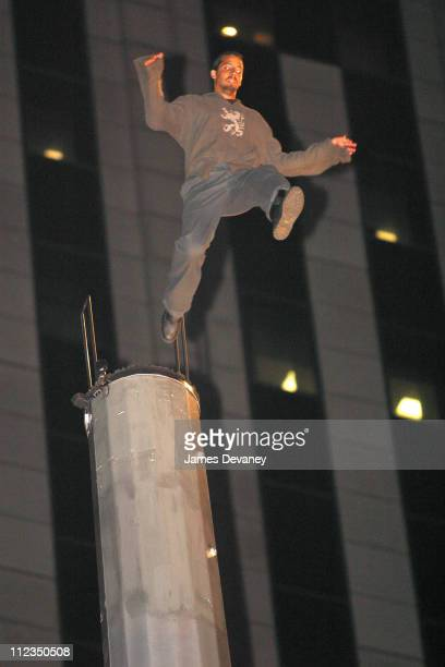 David Blaine jumps from a 100 foot tower into cardboard boxes