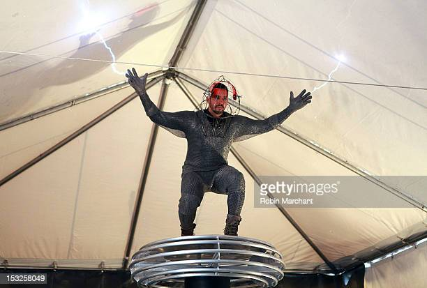 David Blaine poses at the 'Electrified One Million Volts Always On' stunt preview and press conference at Pier 54 on October 2 2012 in New York City