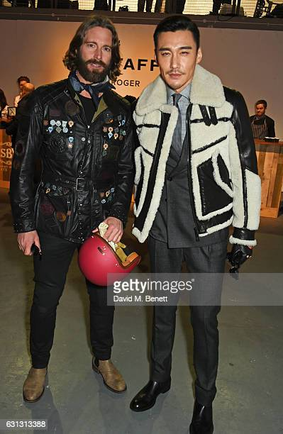 David Blakeley and Hu Bing attend the Belstaff presentation during London Fashion Week Men's January 2017 collections at Ambika P3 on January 9 2017...