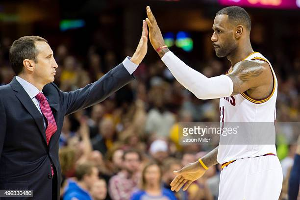 David Blatt celebrates with LeBron James of the Cleveland Cavaliers during the second half at Quicken Loans Arena on November 8 2015 in Cleveland...