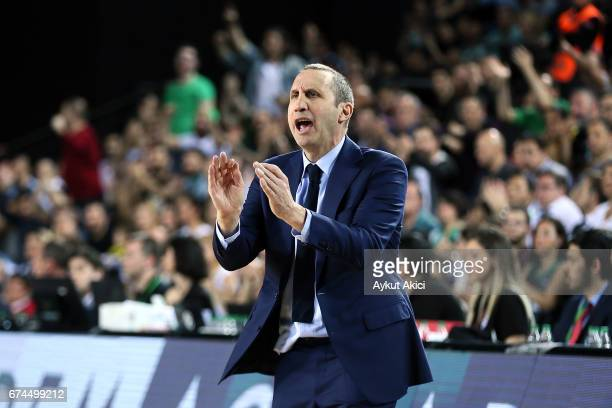 David Blatt Head Coach of Darussafaka Dogus Istanbul in action during the 2016/2017 Turkish Airlines EuroLeague Playoffs leg 4 game between...