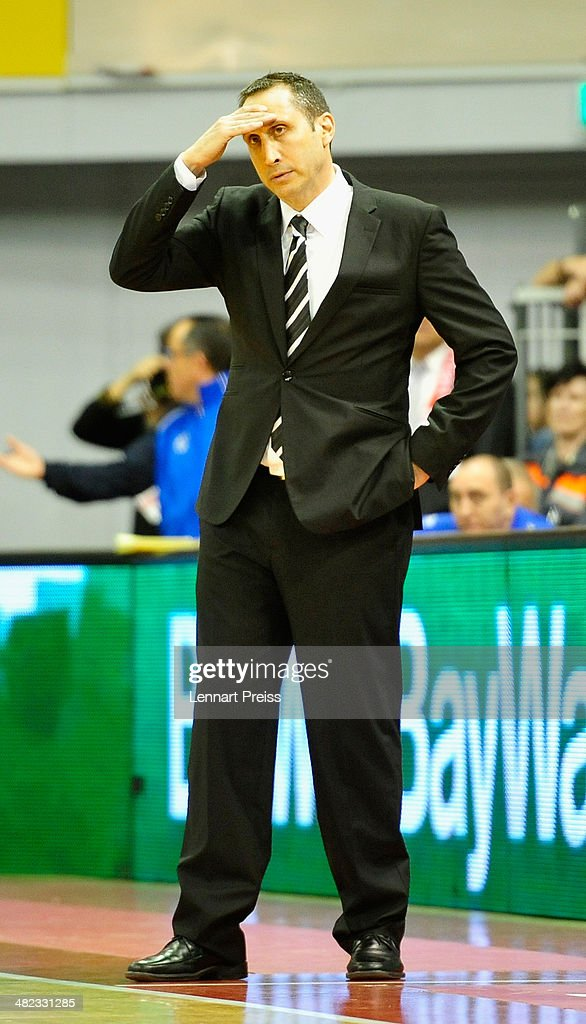 <a gi-track='captionPersonalityLinkClicked' href=/galleries/search?phrase=David+Blatt&family=editorial&specificpeople=836616 ng-click='$event.stopPropagation()'>David Blatt</a>, head coach of Tel Aviv reacts during the Turkish Airlines Euroleague Top 16 Round 13 Group F basketball match between FC Bayern Muenchen and Maccabi Electra Tel Aviv at Audi-Dome on April 3, 2014 in Munich, Germany.
