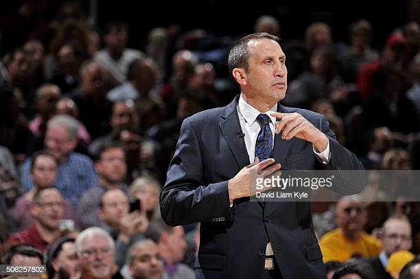 David Blatt of the Cleveland Cavaliers coaches against the Los Angeles Clippers on January 21 2016 at Quicken Loans Arena in Cleveland Ohio NOTE TO...