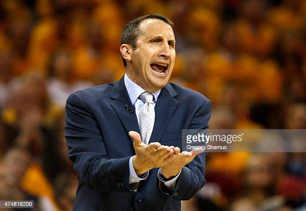 David Blatt of the Cleveland Cavaliers reacts from the sideline in the third quarter against the Atlanta Hawks during Game Four of the Eastern...