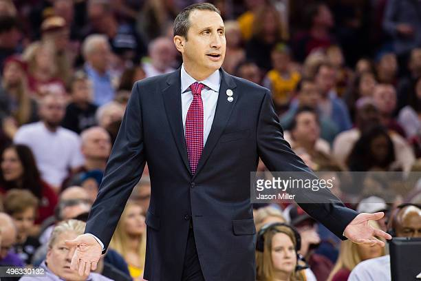 David Blatt of the Cleveland Cavaliers yells to his players during the first half against the Indiana Pacers at Quicken Loans Arena on November 8...