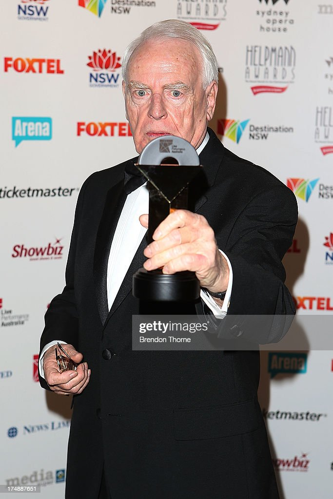 David Blenkinsop poses with the JC Williamson Award at the 2013 Helpmann Awards at the Sydney Opera House on July 29, 2013 in Sydney, Australia.